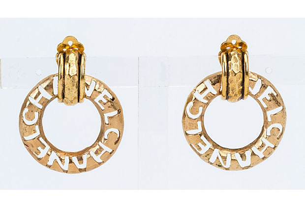 Chanel Detachable Hoop Letter Earrings