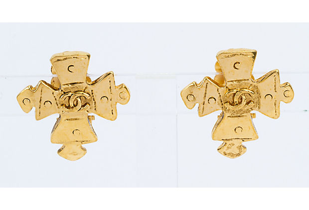 Chanel Gold Bizantine Cross Earrings