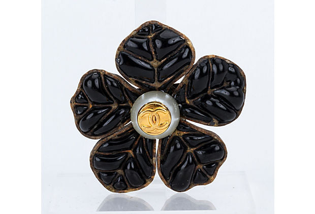 Chanel Poured Glass Black Camellia Pin