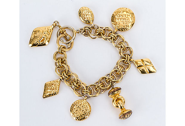 Chanel 70s Charm Seals Gold Bracelet