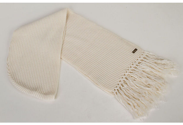 Dior Hooded White Cashmere Fringe Scarf