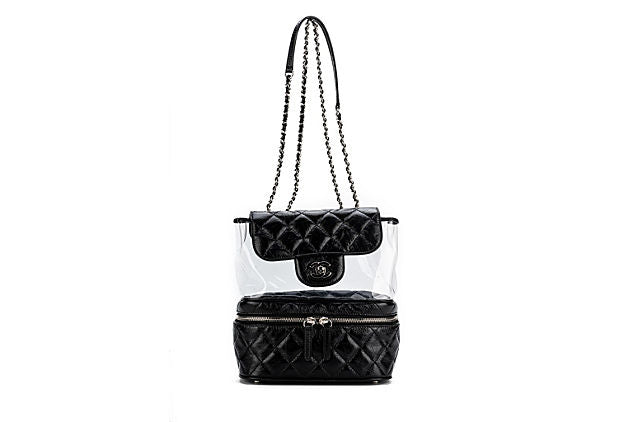 Chanel Black Leather & PVC Shoulder Bag