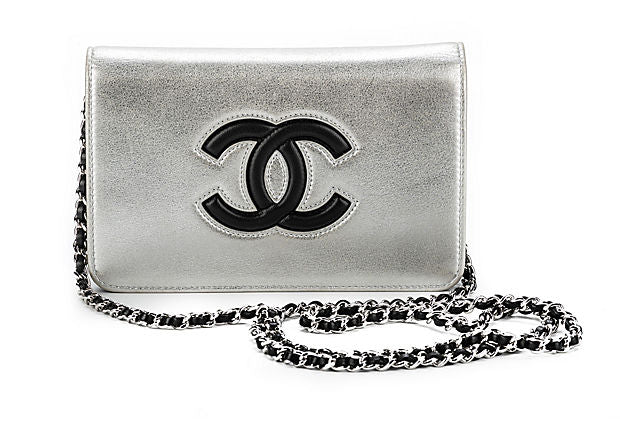 Chanel Silver Logo Wallet On A Chain