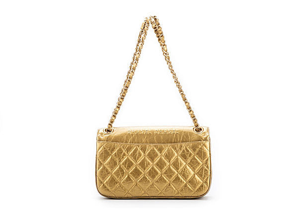 Chanel Rare Gold Embossed Single Flap