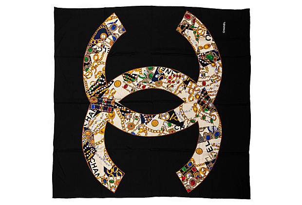 Chanel Silk Jewels Large Scarf 52""