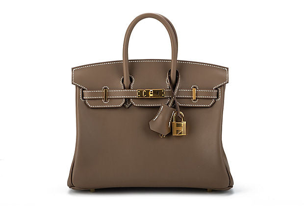 Hermes BNIB Birkin 25 Etoupe Swift/Gold