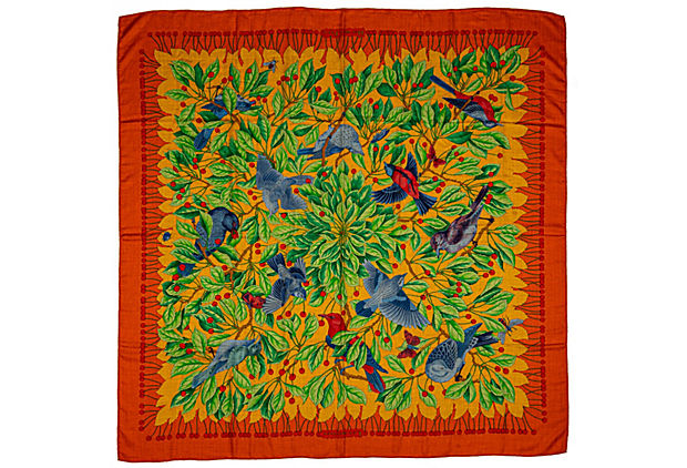 Hermes Orange/Blue Birds Cashmere Shawl