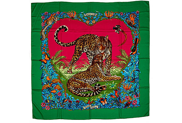 Hermes Green Jungle Love Cashmere Shawl