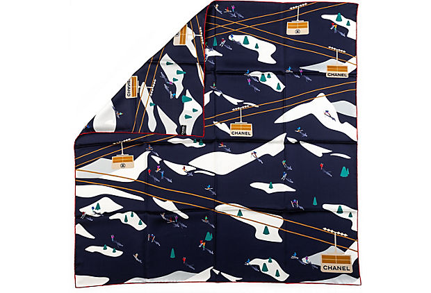 Chanel BN Navy Mountains Silk Scarf