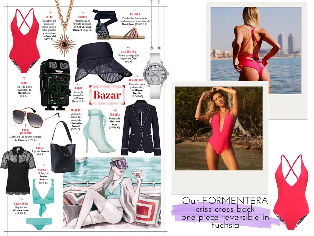 Vanity fair summer fashion trends one piece swimsuit criss cross back plunge v neck bocachica swimwear
