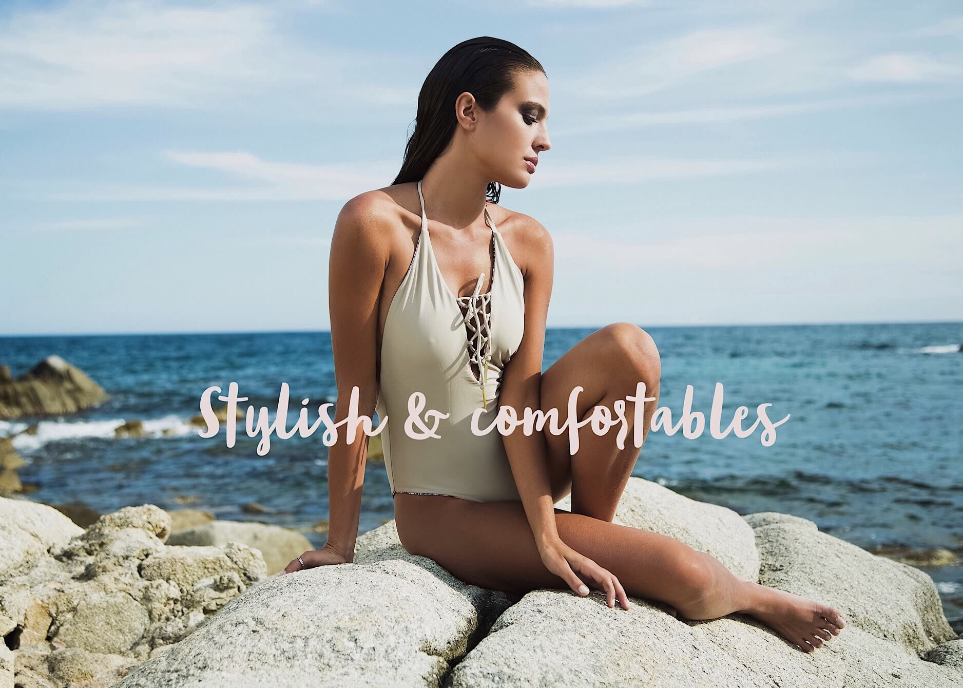 Lace up one piece nude swimsuit bocachica swimwear bañador nude