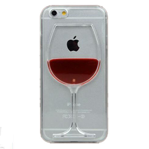 Hot sale Red Wine Cup Liquid Transparent Case Cover For Apple iPhone 4 4S 5 5S 6 6 Plus All Models Phone Cases Back Covers