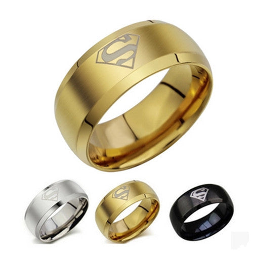 Superman ring titanium stainless steel Men Ring Superman Logo Finger Rings 3 Colors Fashion RING