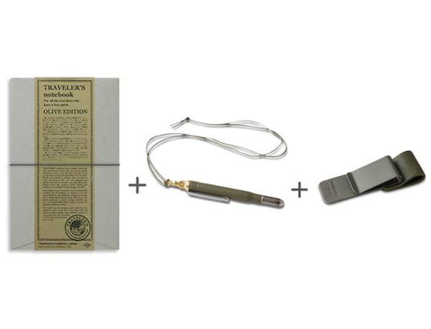 Traveler's Company Olive Edition Pen notebook clip bundle