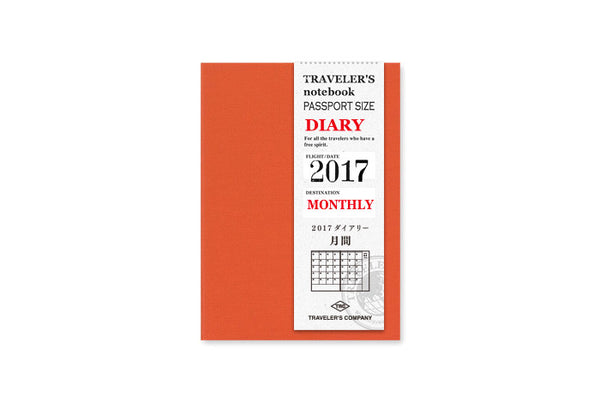 2017 Midori Traveler's Notebook (Passport Size) - Monthly Diary Refill. - NOMADO Store