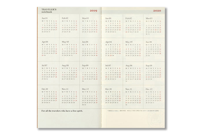2019 Traveler's Notebook (Regular Size) - Month on 2 pages Diary Refill. - NOMADO Store