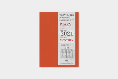 2021 Traveler's Notebook (Passport Size) - Monthly Diary Refill.
