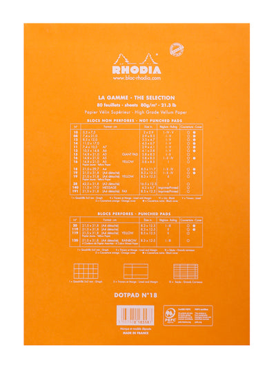 RHODIA Head stapled pad N°18 Dot Grid (orange or black)