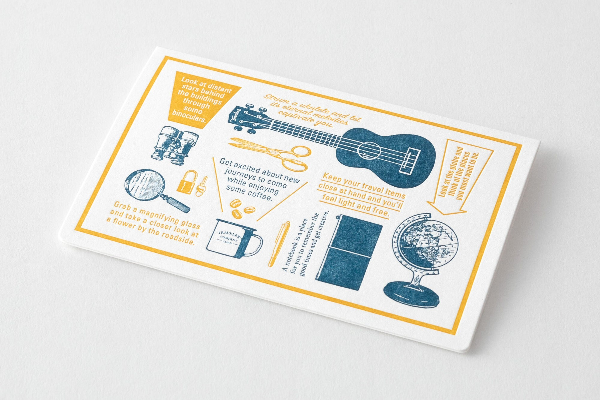 TRAVELER'S LTD Edition - Travel Tools - Letterpress Card Blue