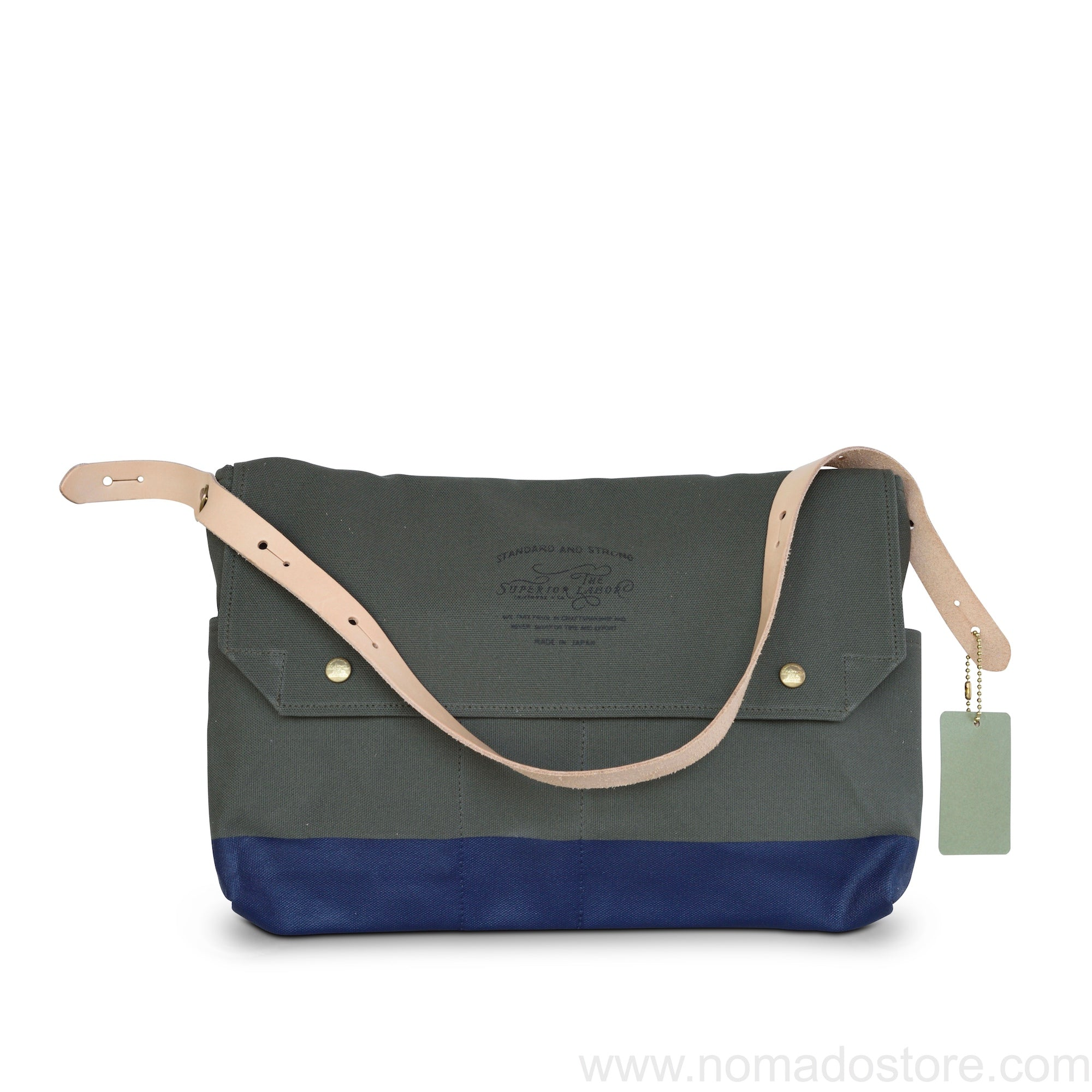 The Superior Labor New Bag in Bag Khaki Canvas Navy Paint - NOMADO Store