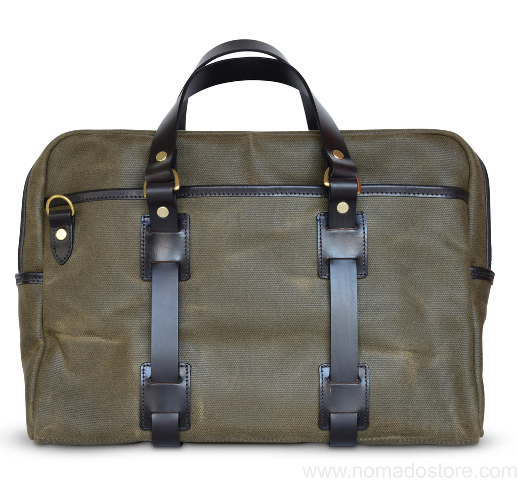 CROOTS VINTAGE CANVAS LAPTOP BAG (Olive) - NOMADO Store