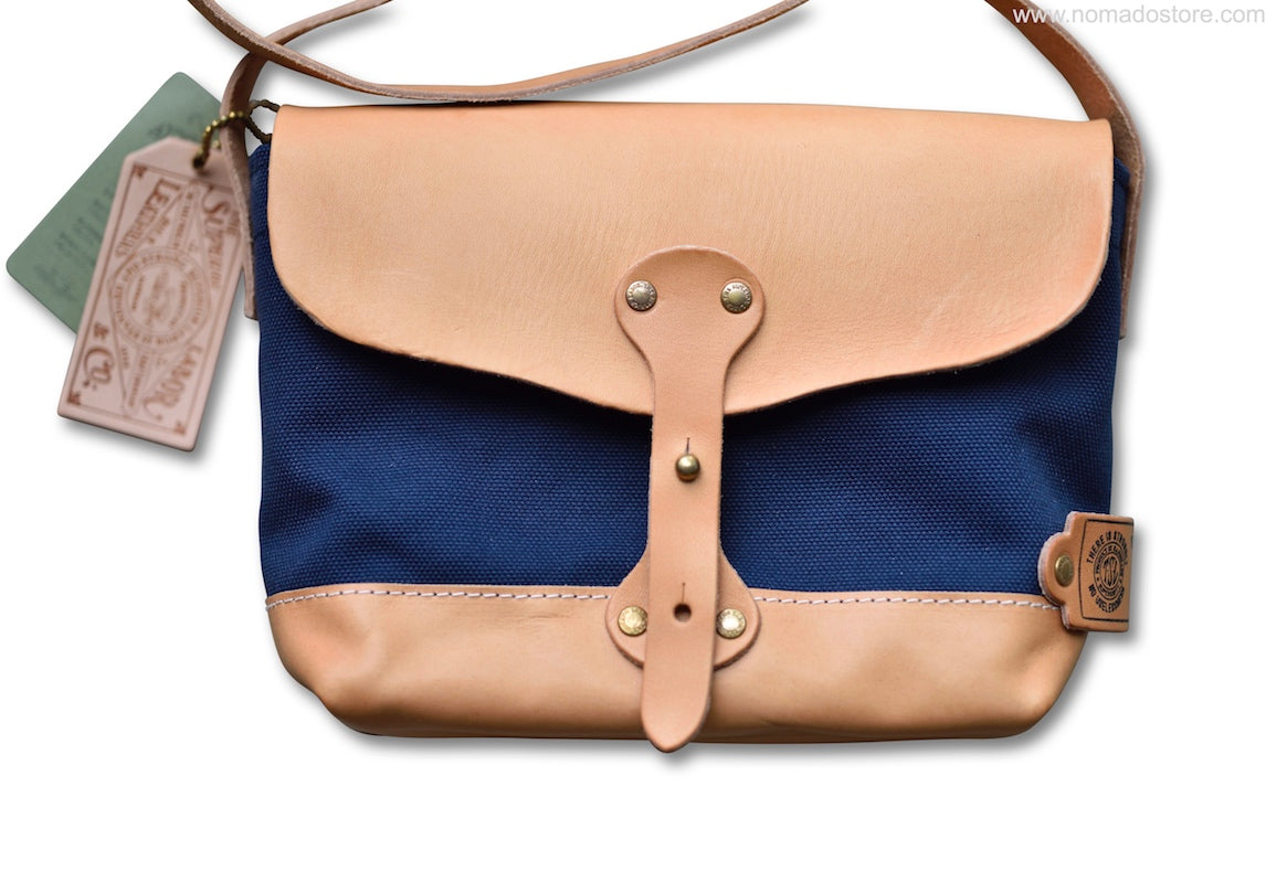 The Superior Labor Paint Small Shoulder bag Ltd. navy canvas, leather bottom. PRE-ORDER - NOMADO Store