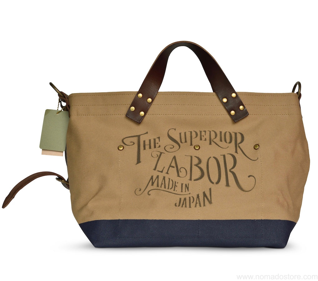 The Superior Labor engineer shoulder bag S beige body navy paint - NOMADO Store