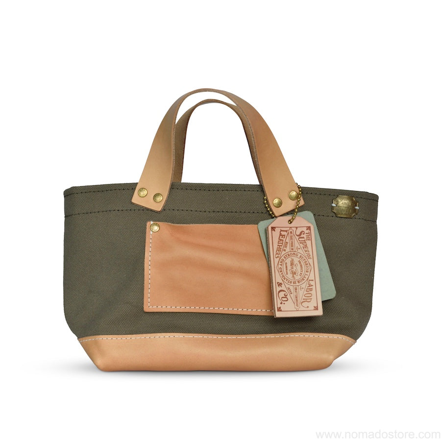 The Superior Labor Engineer Bag Petite Ltd Edition khaki canvas natural leather - NOMADO Store