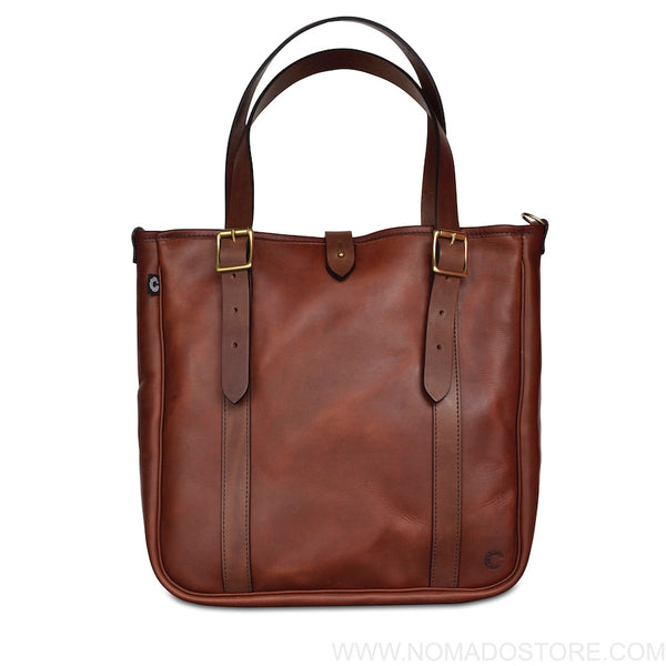CROOTS VINTAGE LEATHER MEDIUM TOTE BAG - (Port) - NOMADO Store