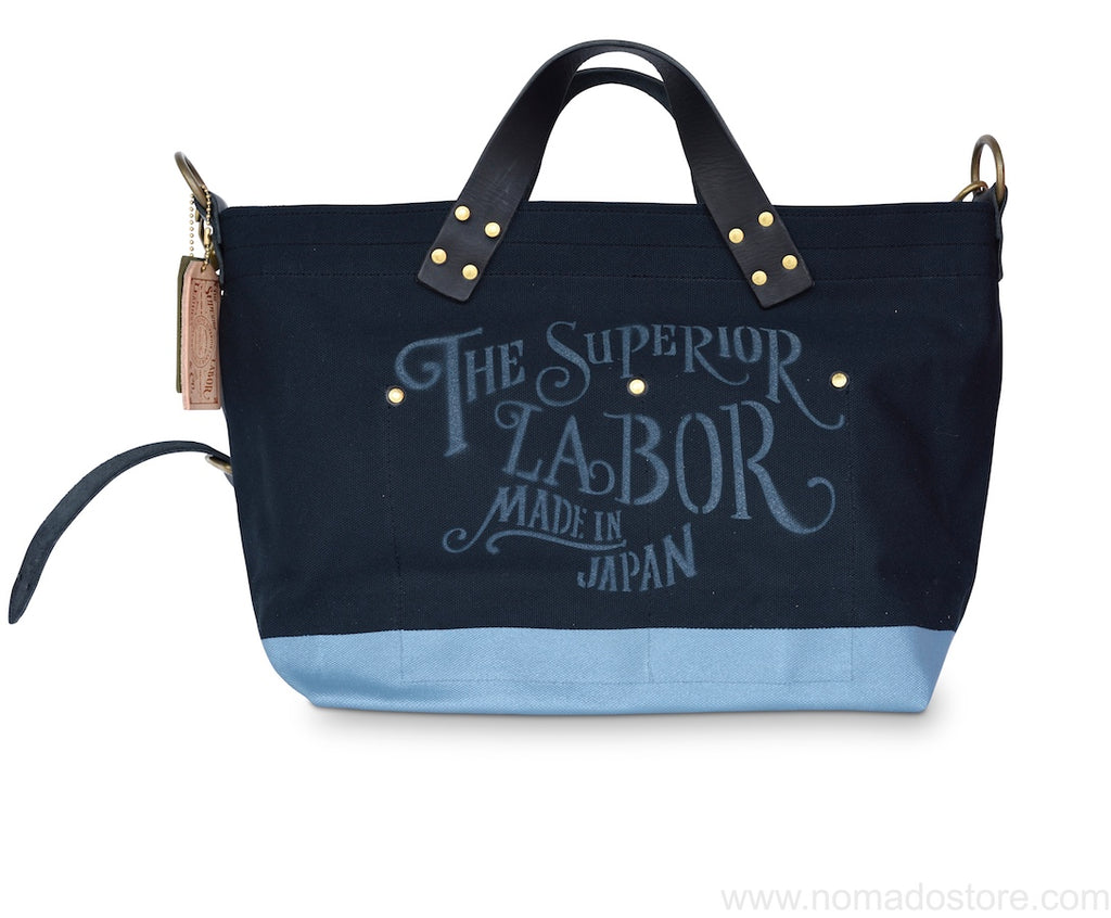 Superior Labor engineer shoulder bag S black canvas blue grey paint - NOMADO Store