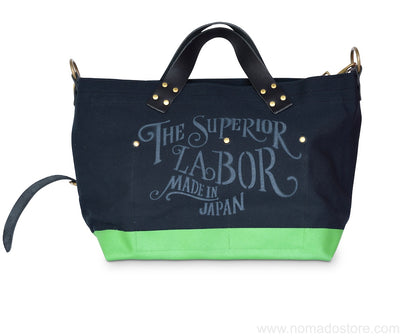 Superior Labor engineer shoulder bag S black canvas green paint. - NOMADO Store