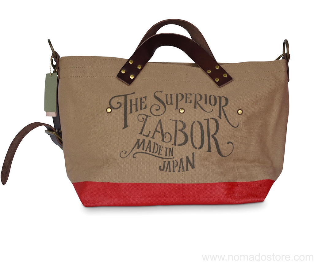 The Superior Labor engineer shoulder bag S beige body red paint - NOMADO Store