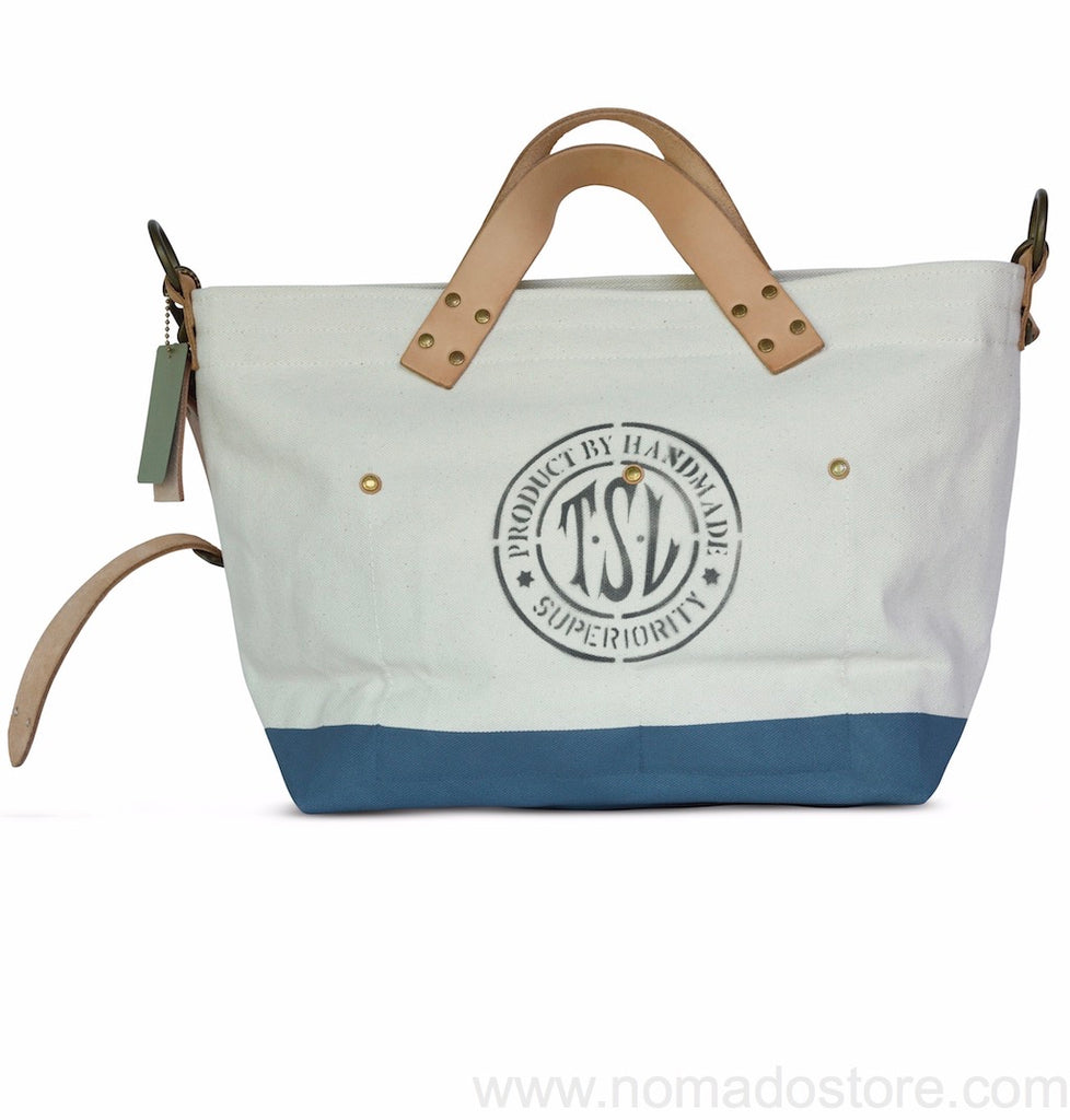The Superior Labor engineer shoulder bag S natural body blue grey paint - NOMADO Store