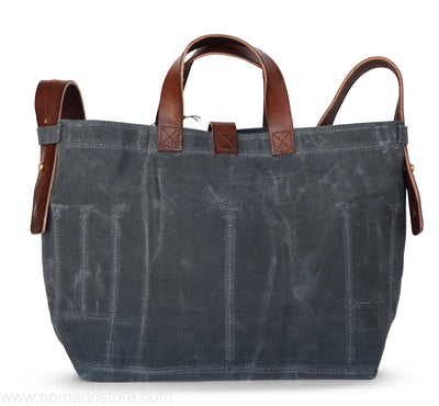 Peg and Awl Waxed Canvas Tote - Slate/Zipper - NOMADO Store