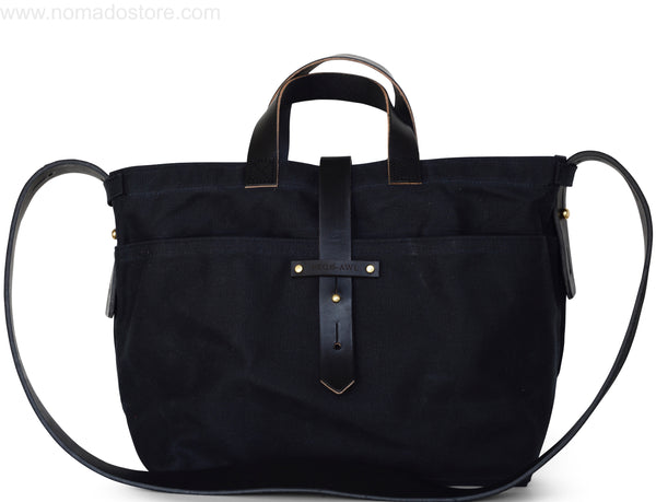 Peg and Awl All Black Waxed Canvas Tote - Standard/No Zipper - NOMADO Store