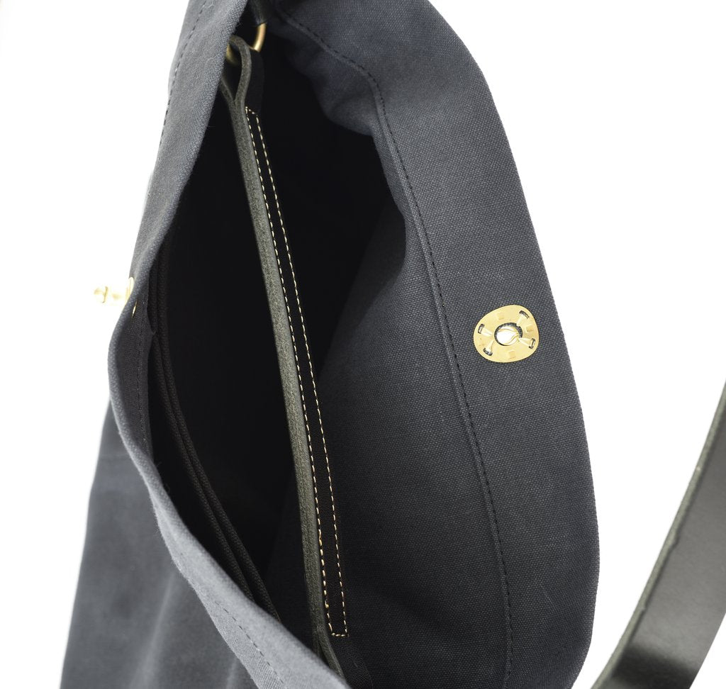 Marineday Fishfly Linen Canvas Shoulder Bag (Black) - NOMADO Store