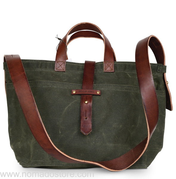Peg and Awl Waxed Canvas Tote - Moss/Zipper - NOMADO Store