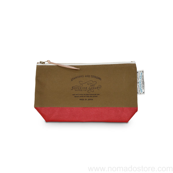 The Superior Labor Engineer pouch beige canvas, red paint 2 sizes