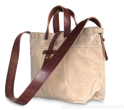 Peg and Awl Waxed Canvas Tote - Almond - NOMADO Store