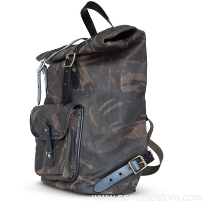 CROOTS WAXED CANVAS CAMOUFLAGE ROLL TOP BACKPACK