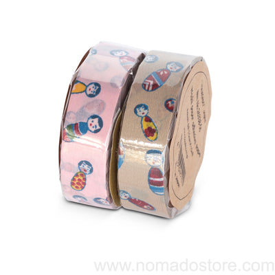 Classiky KOKESHI Doll Masking Tape 1 piece pack (Pink or camel) - NOMADO Store