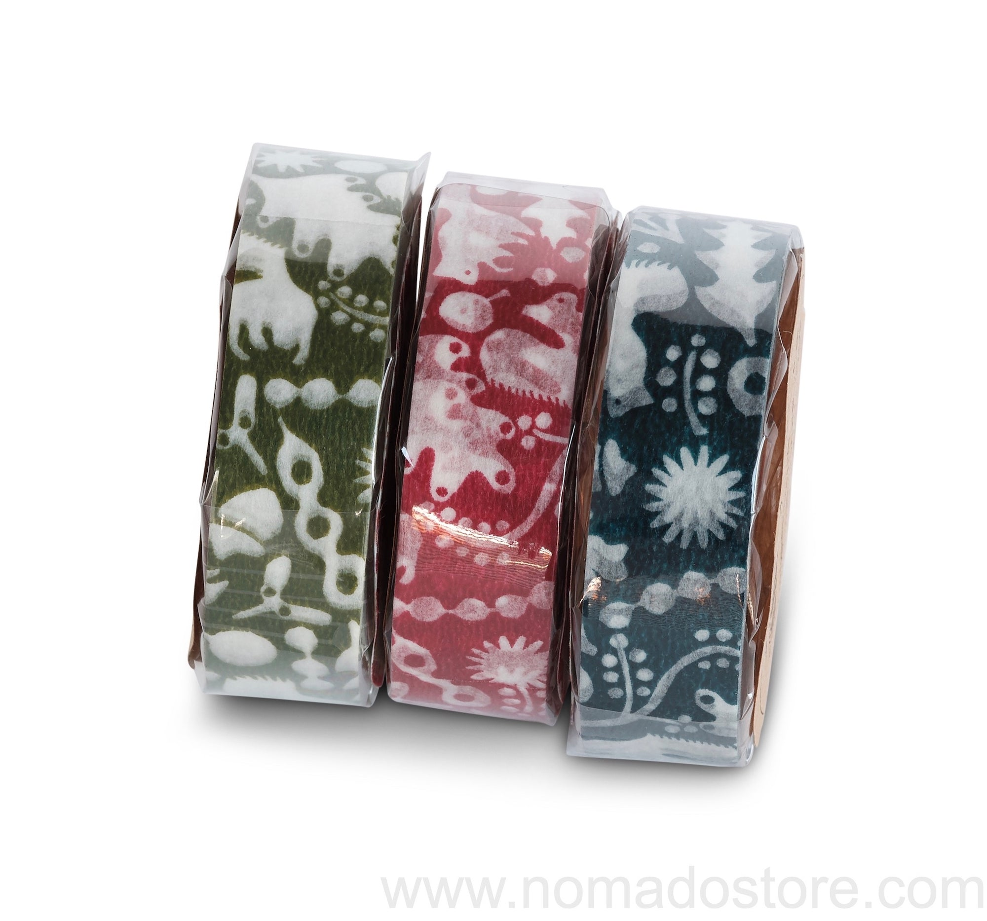 Classiky Forest of Squirrel Masking Tape 1 piece pack (Navy, green, red)) - NOMADO Store