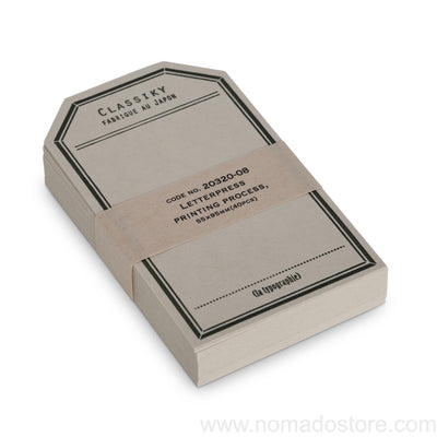 Classiky Letterpress Label Card (2 colours) 40pcs - NOMADO Store