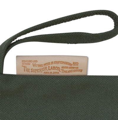 The Superior Labor Leather Patch pouch (khaki) 2 Sizes - NOMADO Store