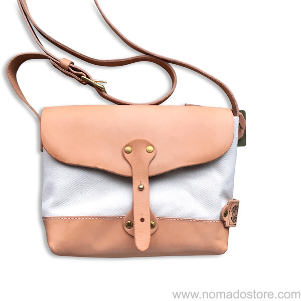 The Superior Labor Paint Small Shoulder bag Ltd. natural canvas, leather bottom. - NOMADO Store