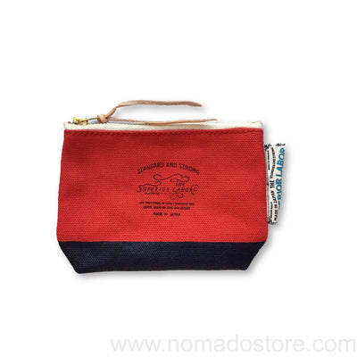 The Superior Labor Engineer pouch red canvas, navy blue paint - NOMADO Store