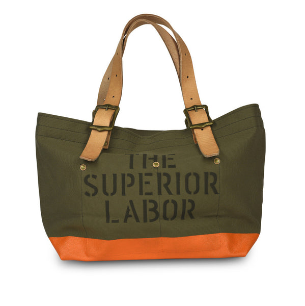 The Superior Labor Engineer Tote bag S khaki body orange paint - NOMADO Store