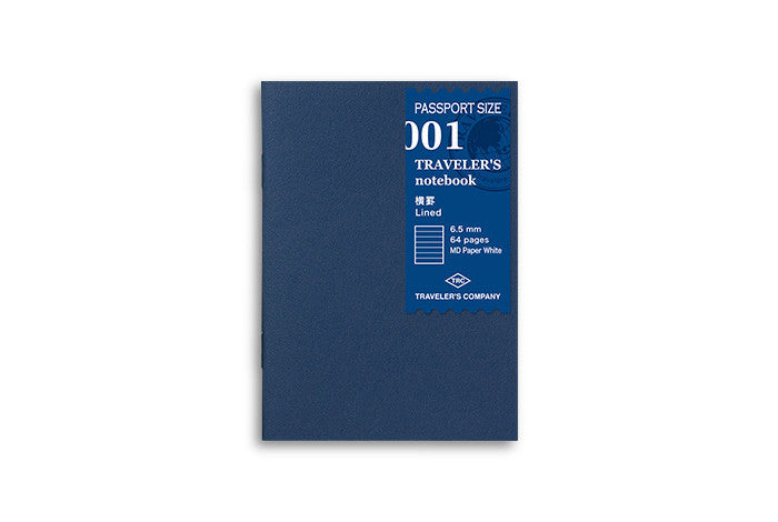 Midori Traveler's Notebook Passport size - 001. Lined Refill MD Passport Size - NOMADO Store