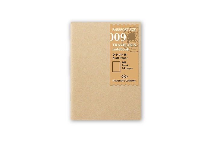 Midori Traveler's Notebook Passport size - 009. Kraft Paper Refill - NOMADO Store