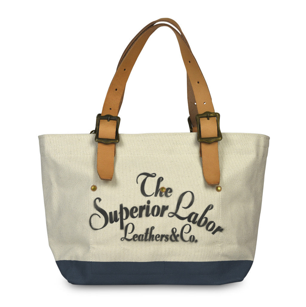 The Superior Labor Engineer Tote bag S natural body grey blue paint - NOMADO Store